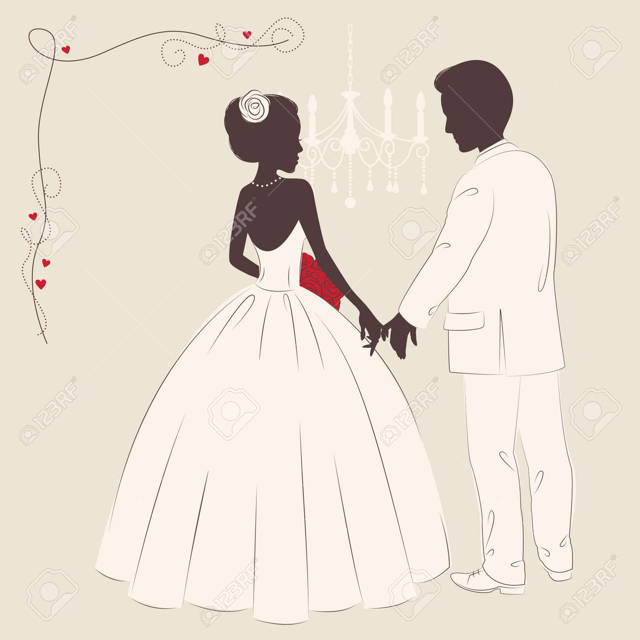 Wedding invitation   Romantic bride and groom holding a hands Stock Vector - 18717716