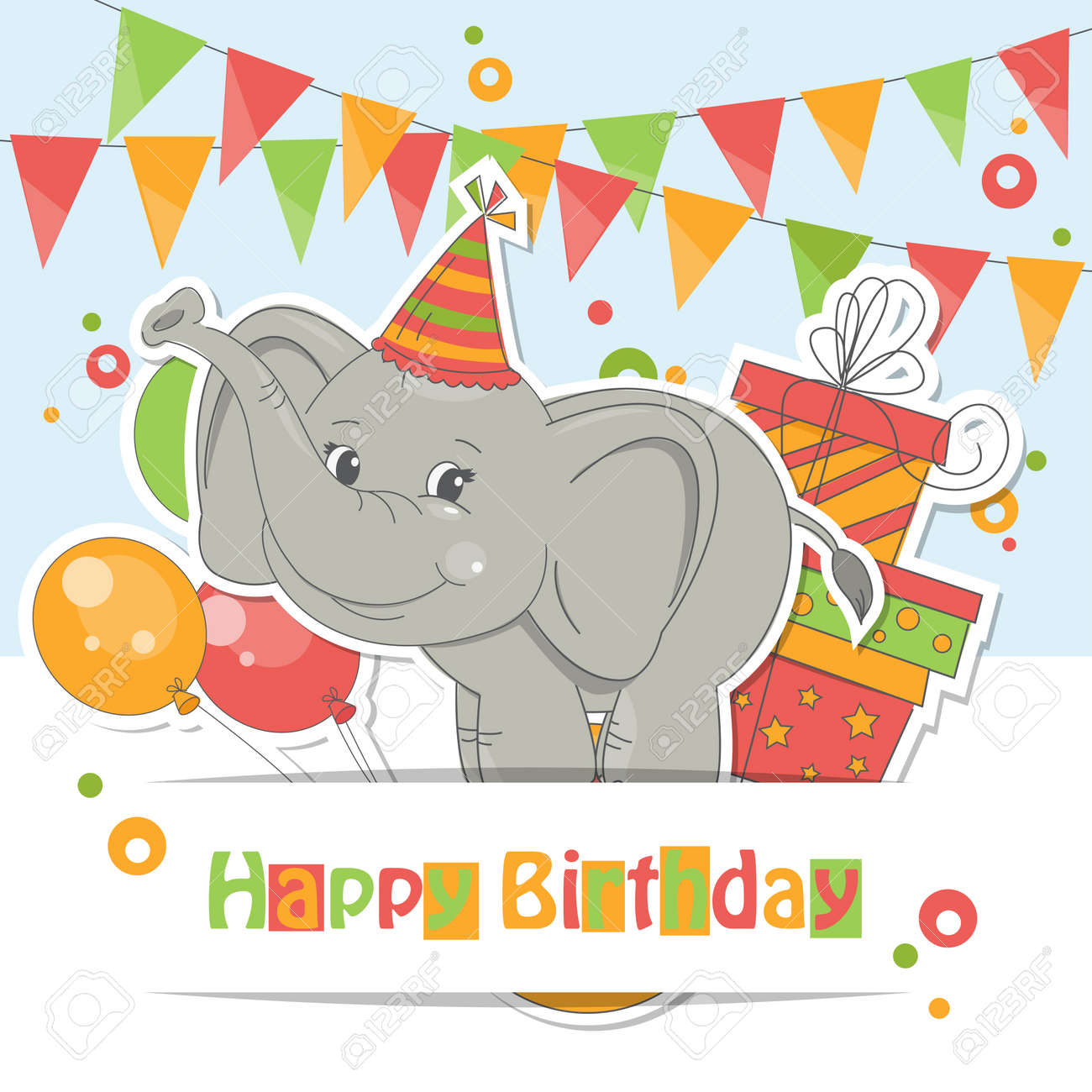 Happy Birthday Card Colorful Illustration Of Cute Little Elephant Air Balloons Gift And