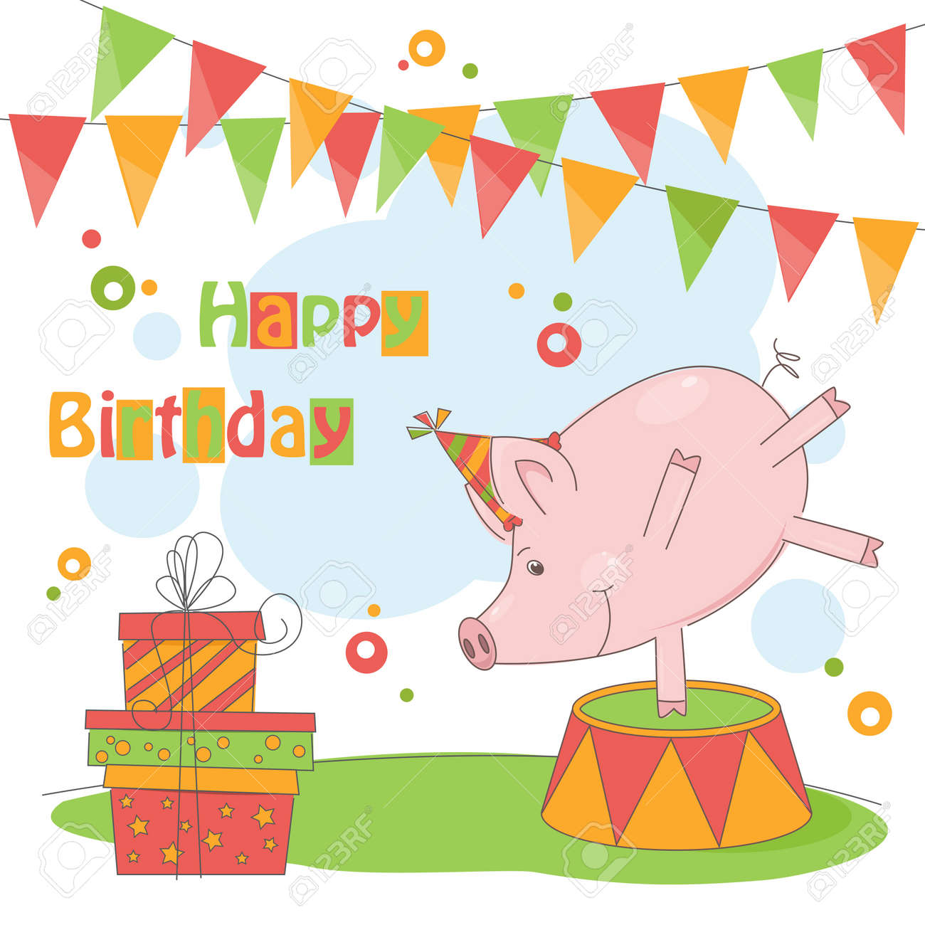 Happy Birthday! Colorful illustration of cute little pig playing . Stock Vector - 19455927