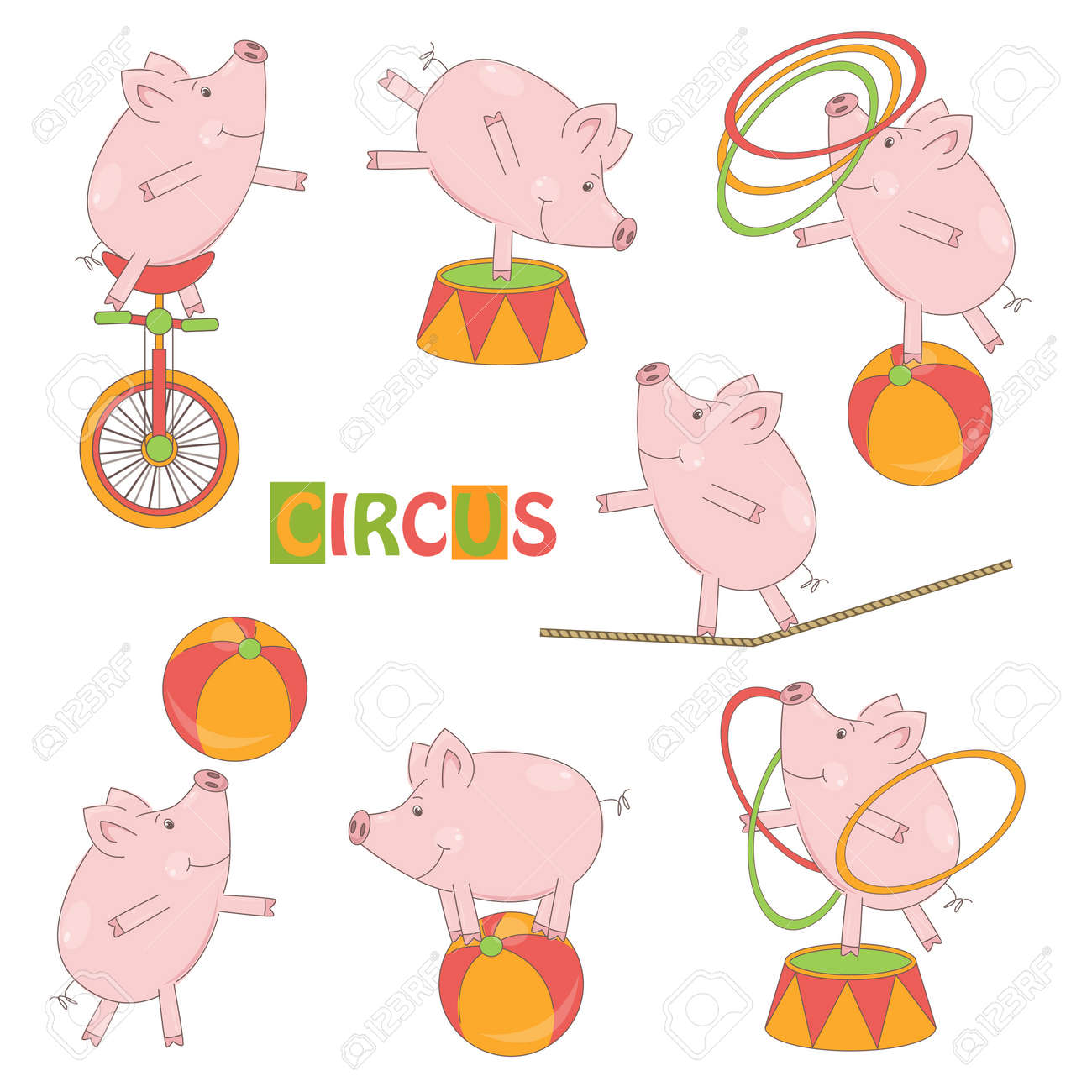 Collection of cute circus little pig on white background  Vector illustration Stock Vector - 19455932