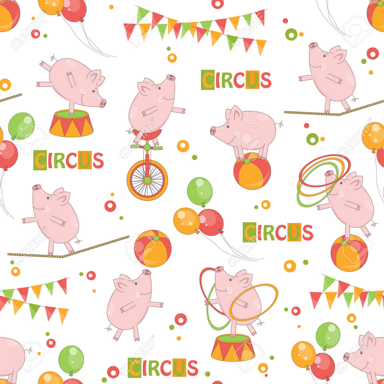 Baby colorful seamless pattern   Little cute pig playing with ball and hula hoop, ride a bicycle, walk on rope Stock Vector - 19455933
