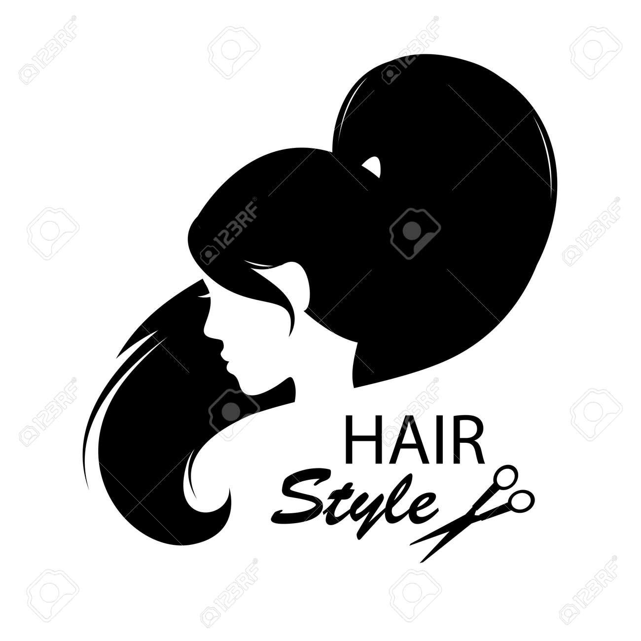 Léments de conception pour salon de coiffure femmes coiffure noir et blanc  Main dessin illustration