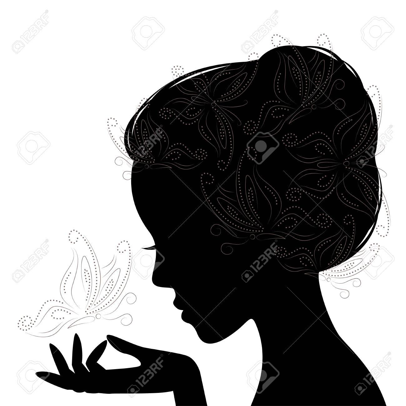 Profil Silhouette De Femme Avec Papillon Dessin à La Main