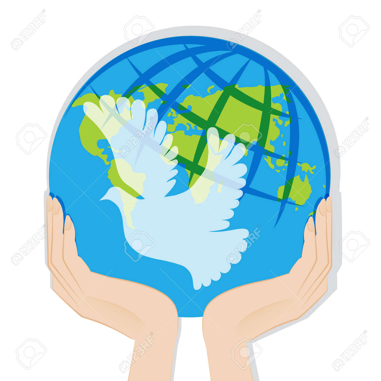 Earth in hands illustration isolated on white background Stock Vector - 19843216