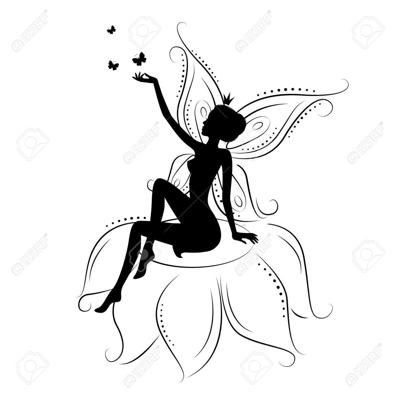 beautiful fairy silhouette of a fairy on flowers with butterfly