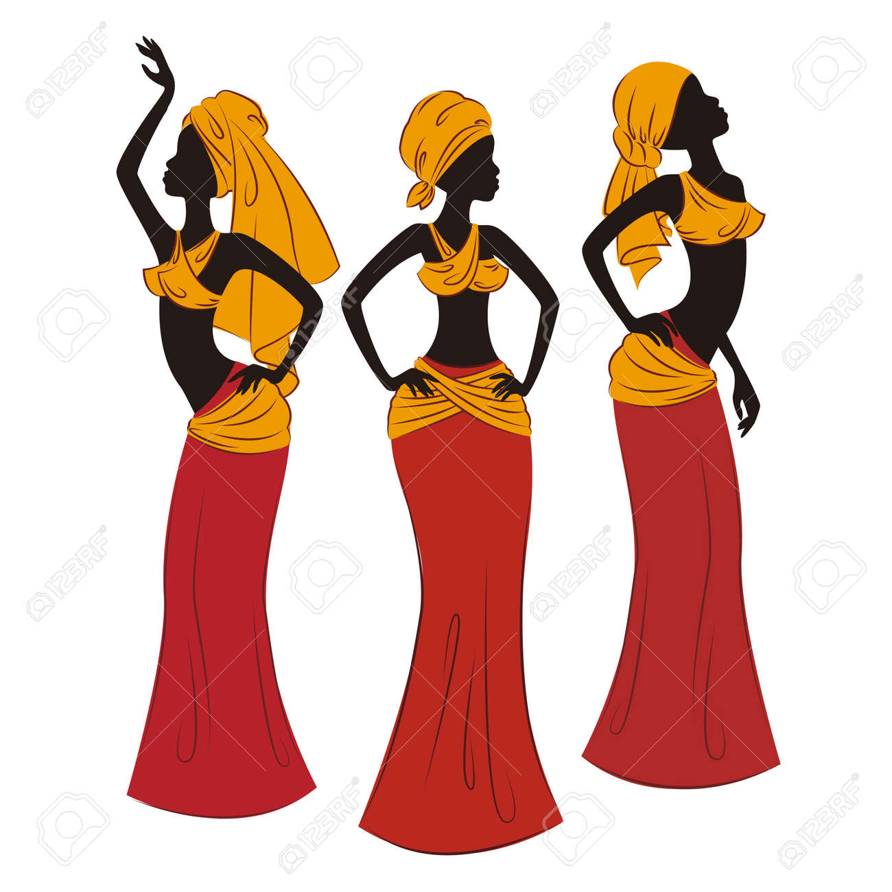 Beautiful ethnic women traditionally dancing illustration isolated on white background Stock Vector - 20361417