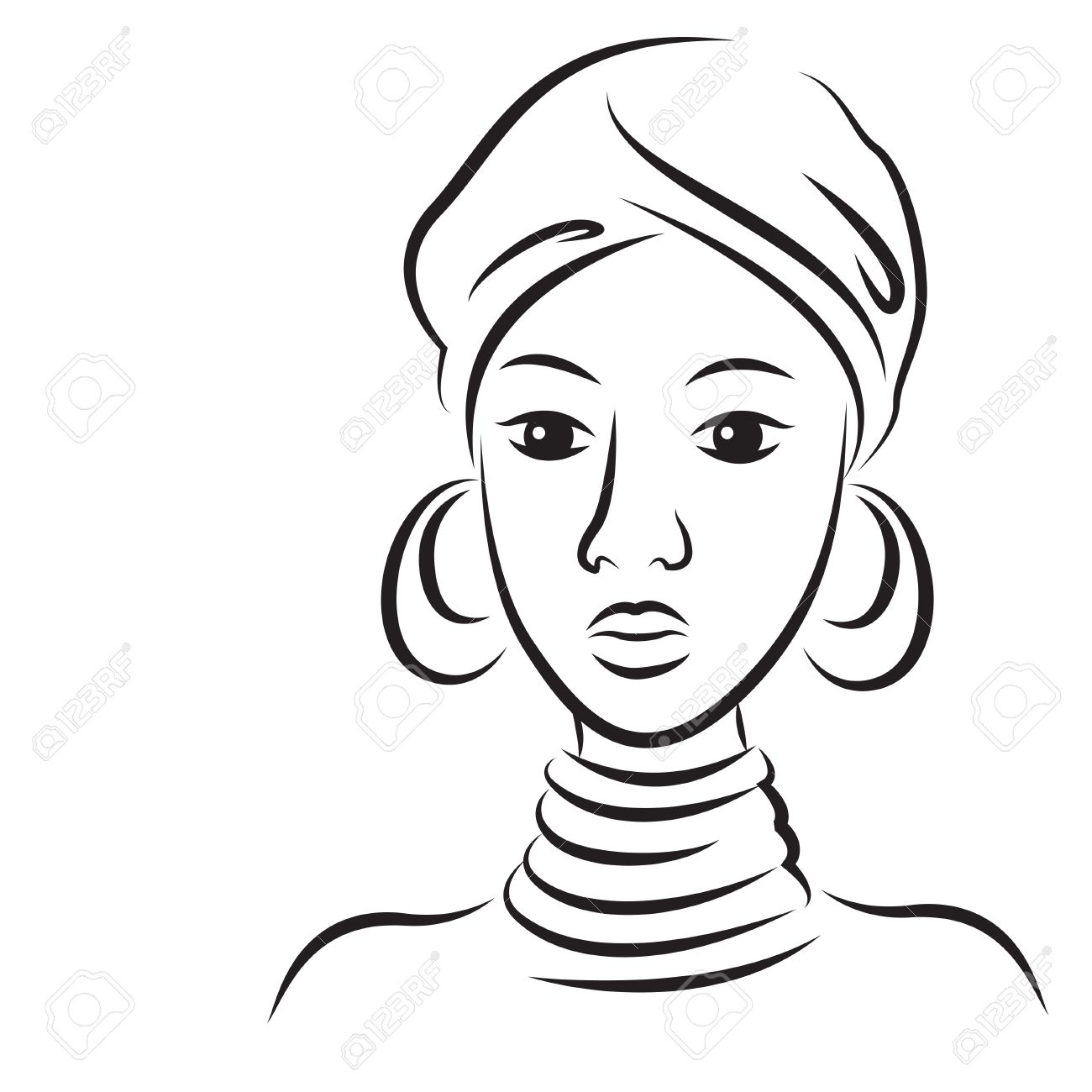 Sketch of young beautiful African woman illustration isolated on white background Stock Vector - 20361411