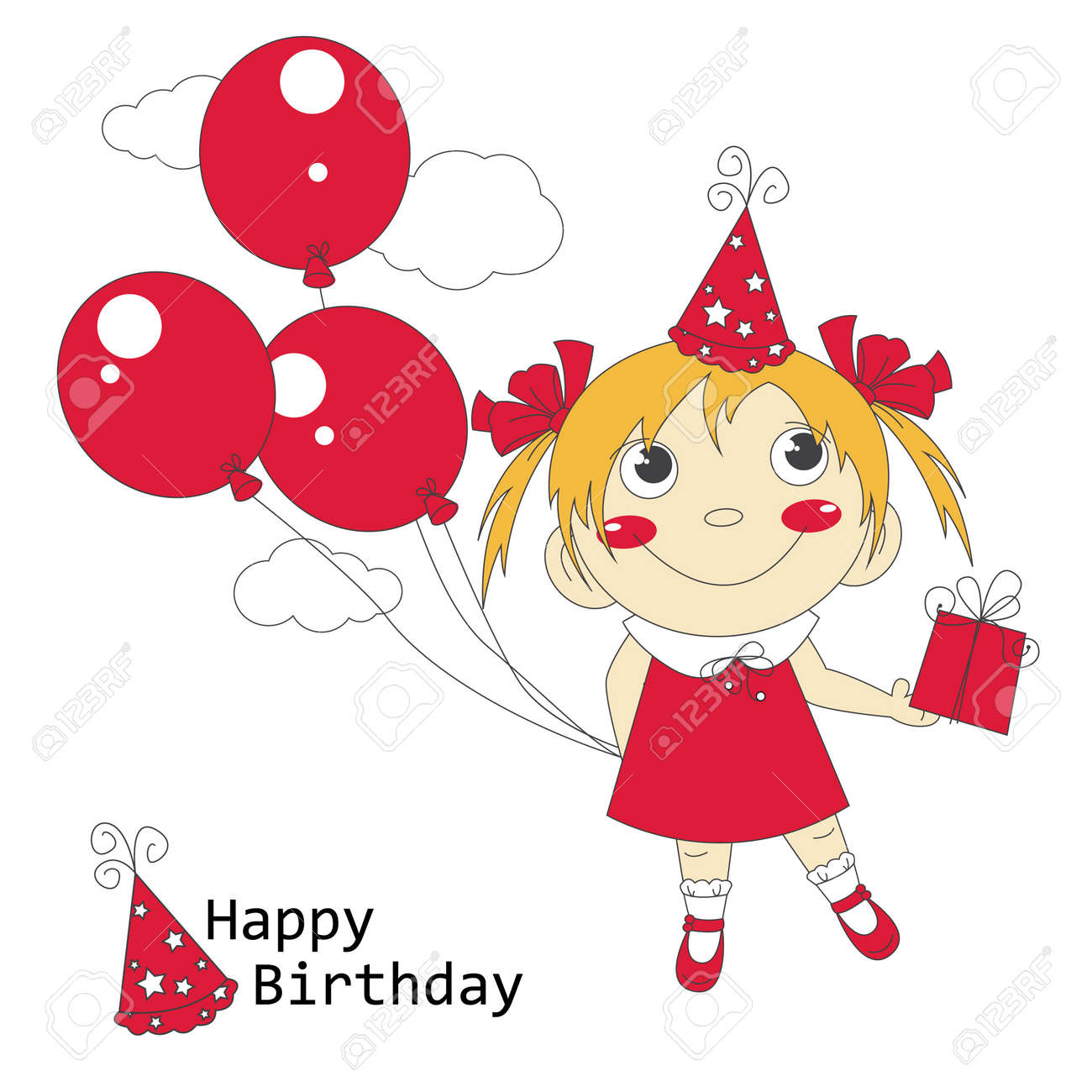 Happy Birthday Illustration Of Cute Little Girl With Air Balloons