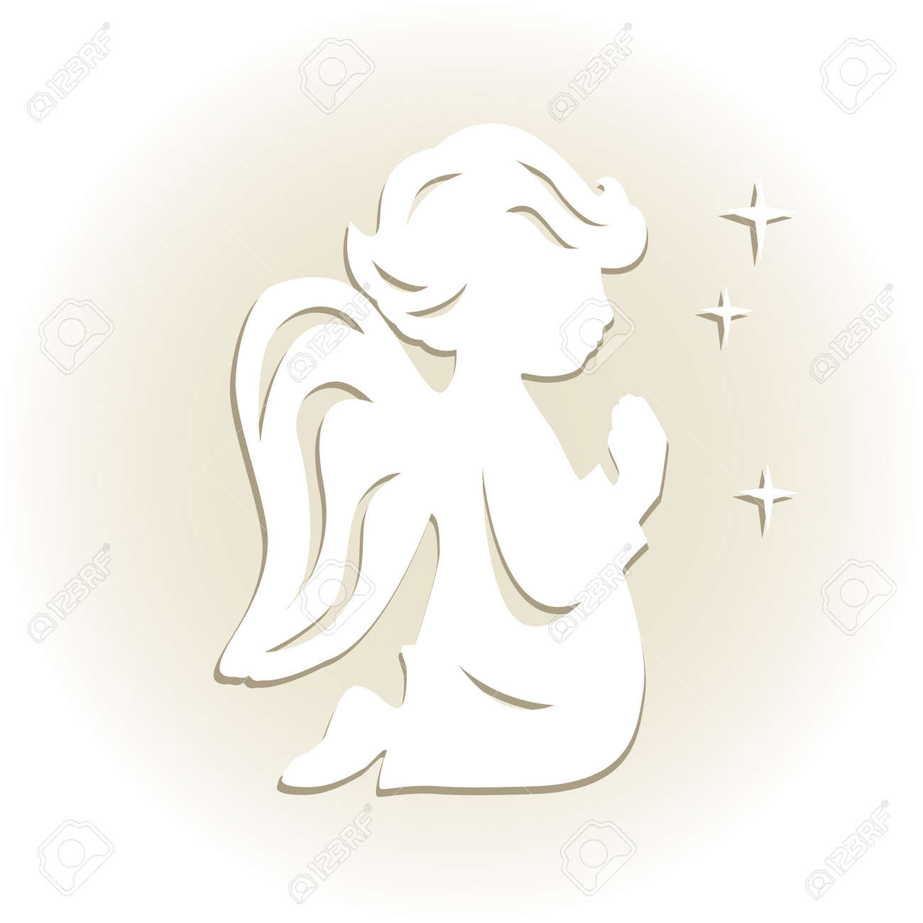 Template Angel For Cut Of Laser Or Engraved Stencil For Paper