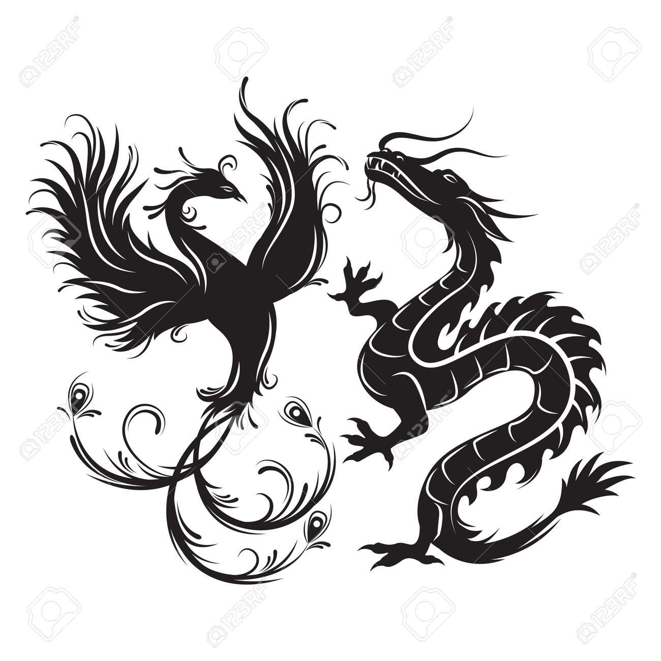 silhouette of phoenix bird and dragon symbol of balance dragon