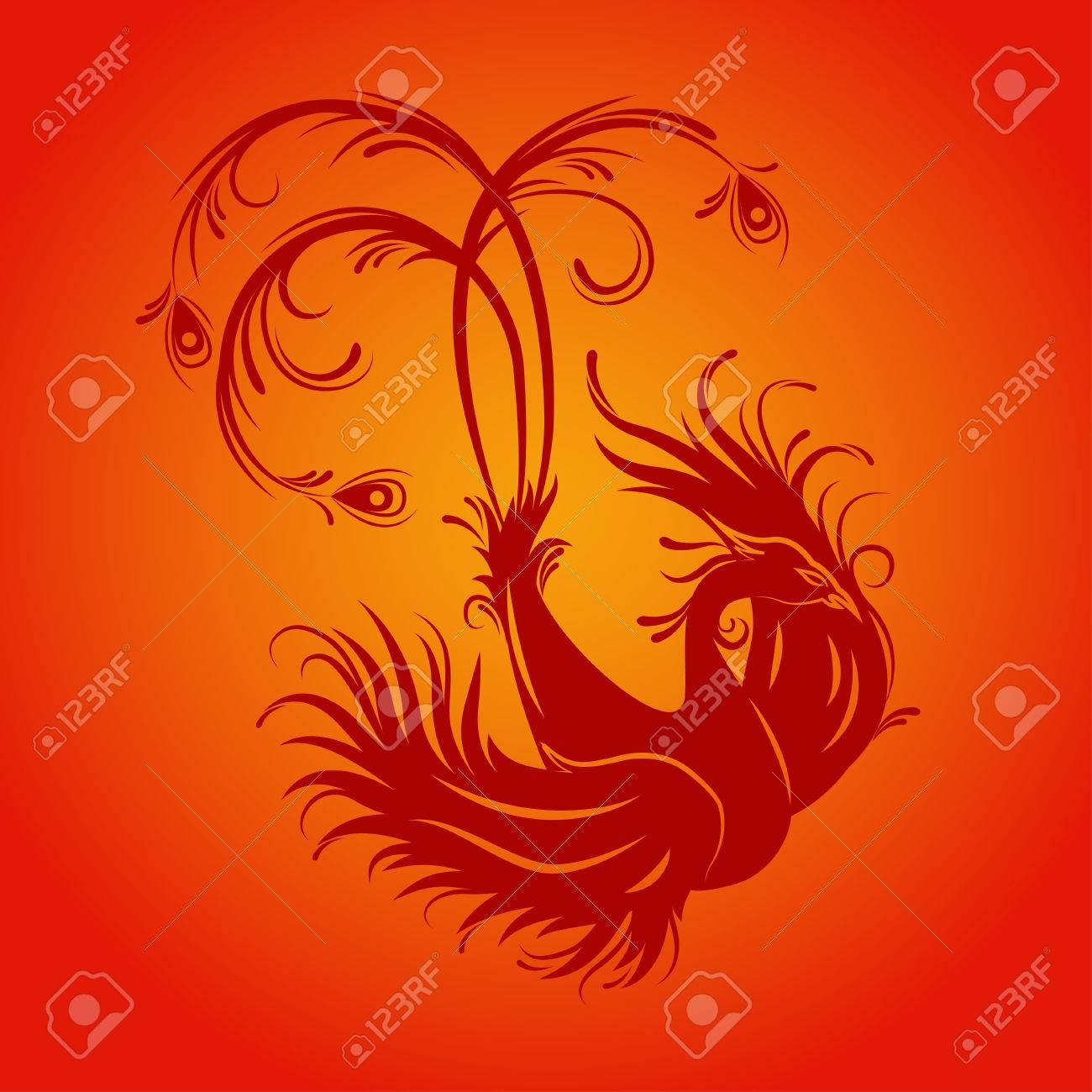 Silhouette of phoenix bird red fenix symbol of immortality silhouette of phoenix bird red fenix symbol of immortality fiery bird stock voltagebd Choice Image