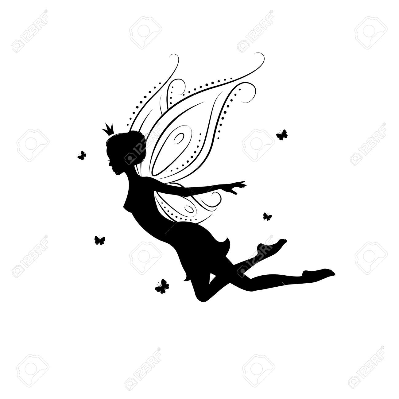 Silhouette Of A Fairy Template For Cut Laser Or Engraved Stencil