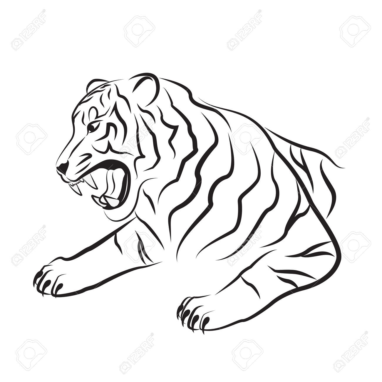 b82c479415a05 Illustration of angry tiger. Tribal art. Black tattoo. Silhouette of tiger  head.