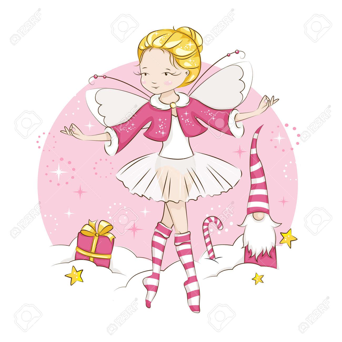 Hermosa Rubia Hada Bailando En Un Traje De Bailarina, Con Calcetines ...