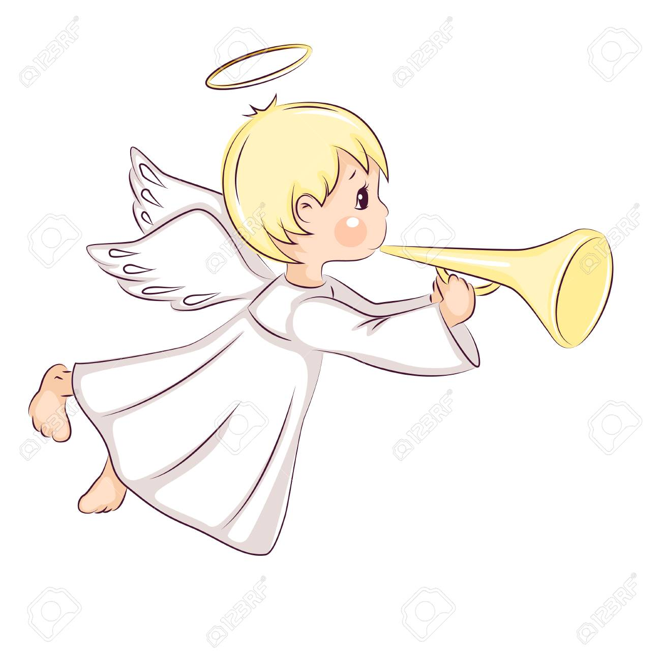 Christmas Angel.Cute Little Christmas Angel He Flies And Holds In His Hands