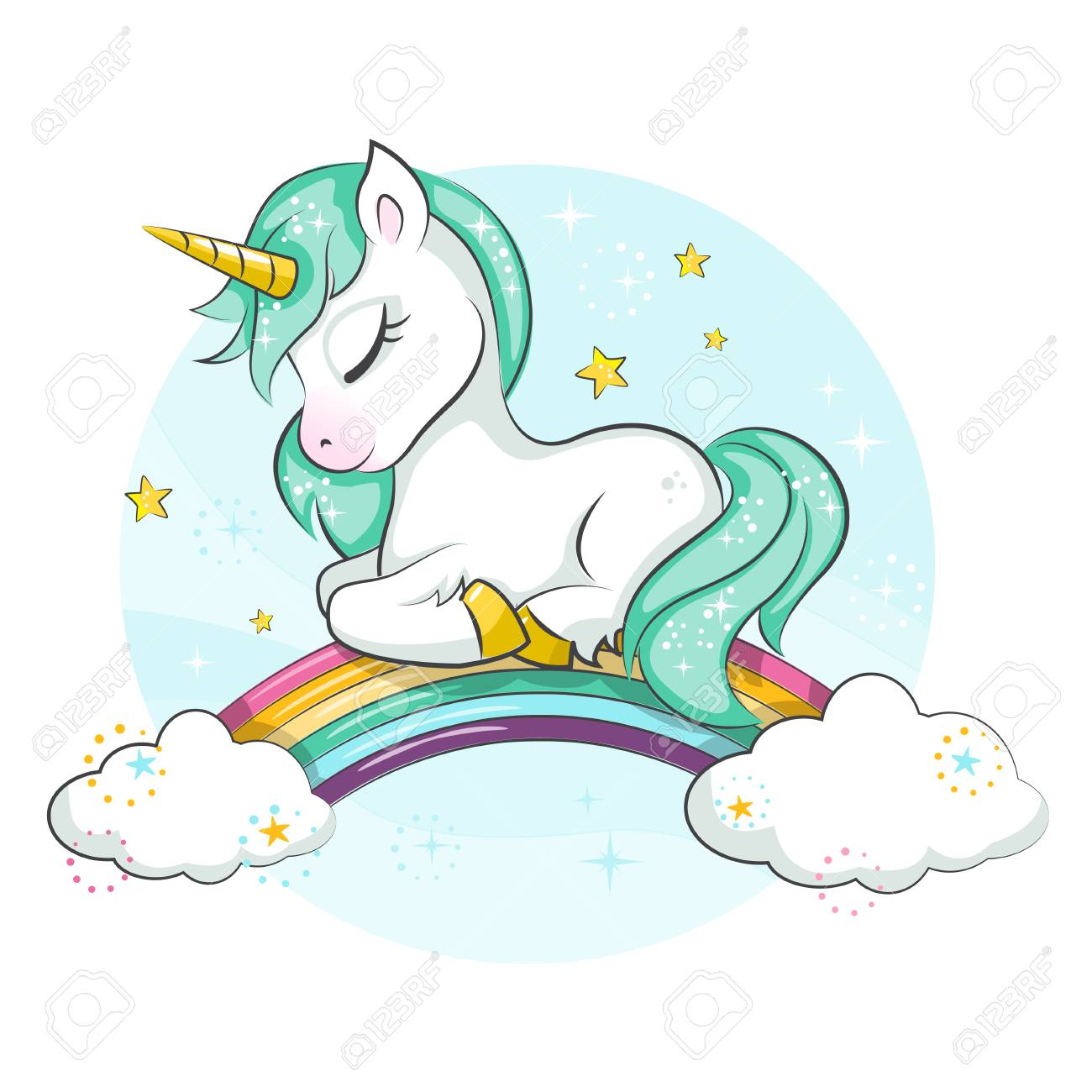 Cute magical unicorn. Little pony. Cute magical unicorn and rainbow. Vector design isolated on white background. Print for t-shirt or sticker. Romantic hand drawing illustration for children. - 97411824