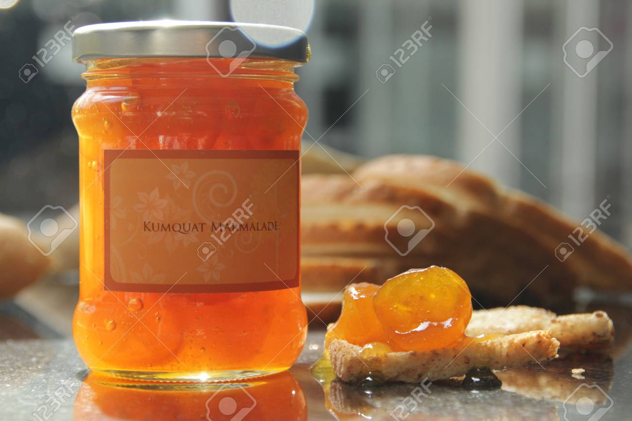 homemade marmalade jam and breads Stock Photo - 80699305