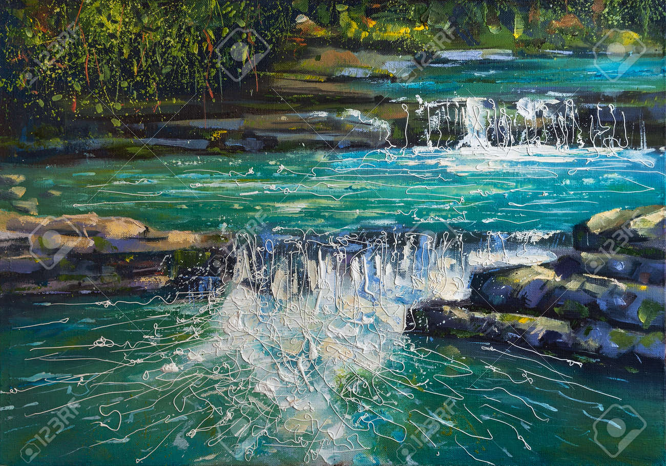 """On the canvas picturesque canyon canyon """"Koryta"""" is depicted, this is a famous place where residents of the city of Sochi prefer to rest. In the summer days when there is a heat in the urban environment, here in the mountain canyon it is cool and comfortable. - 104954969"""
