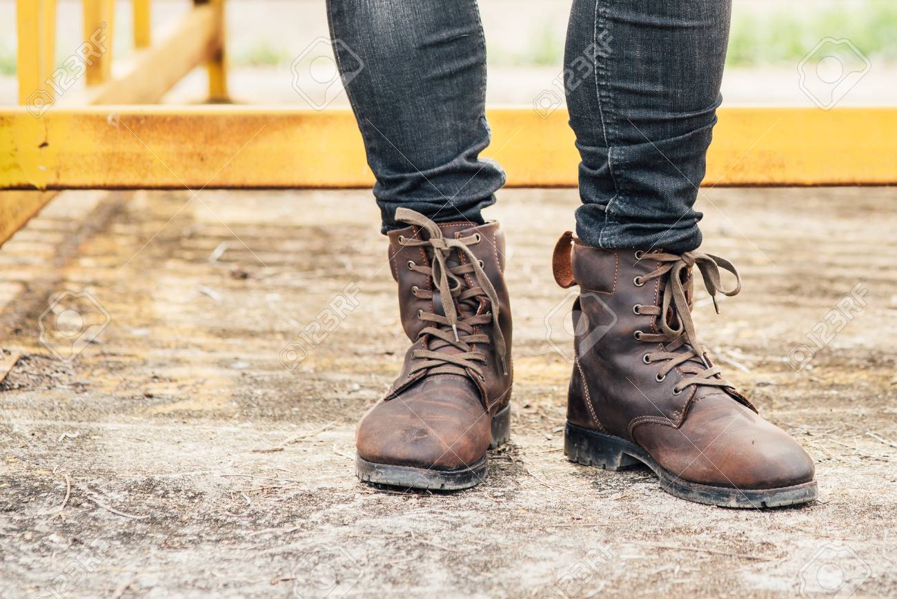 Men Fashion, Brown Leather Boots Stock