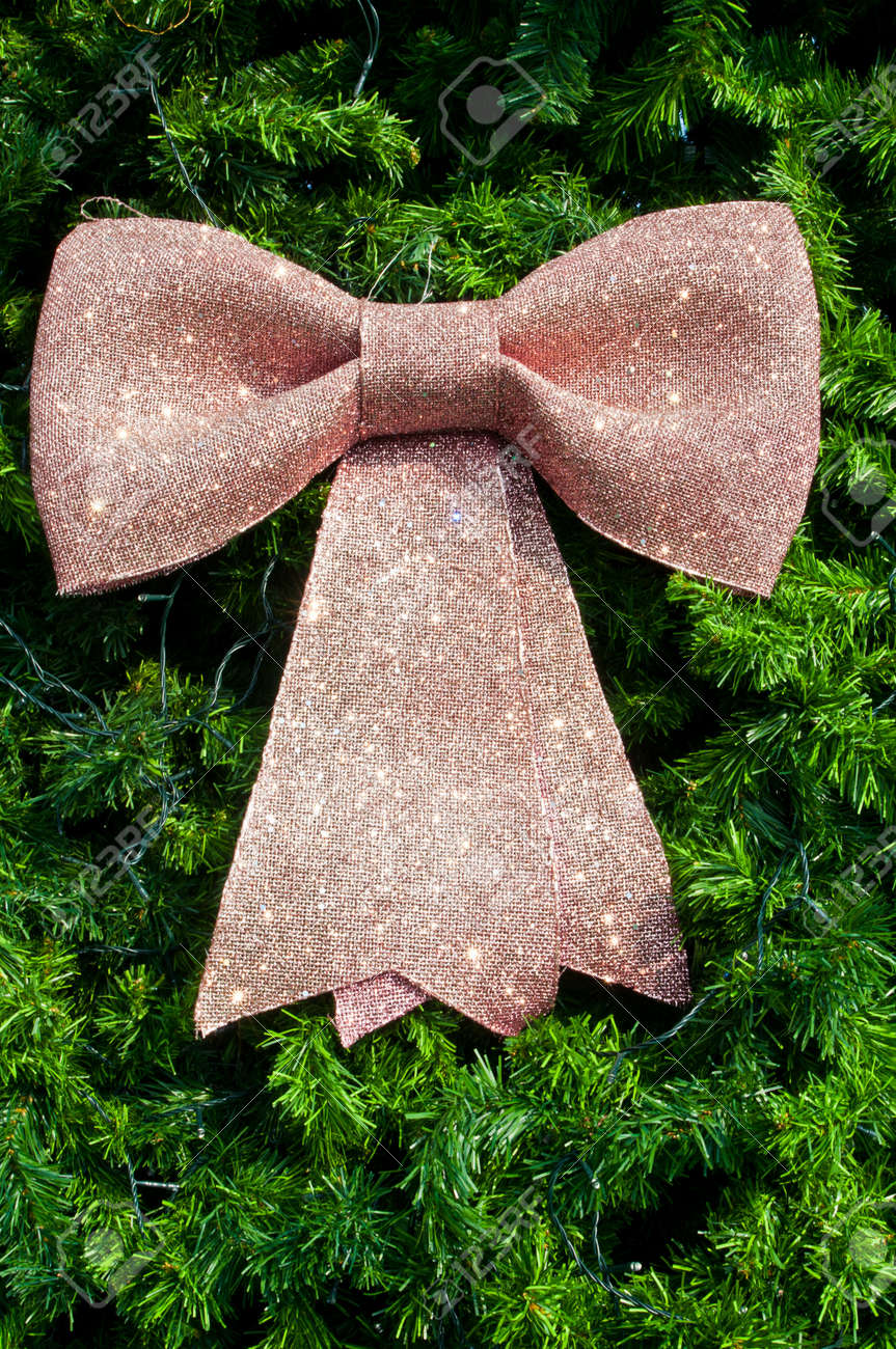 Pink Big Bow On Christmas Tree Stock Photo, Picture And Royalty ...