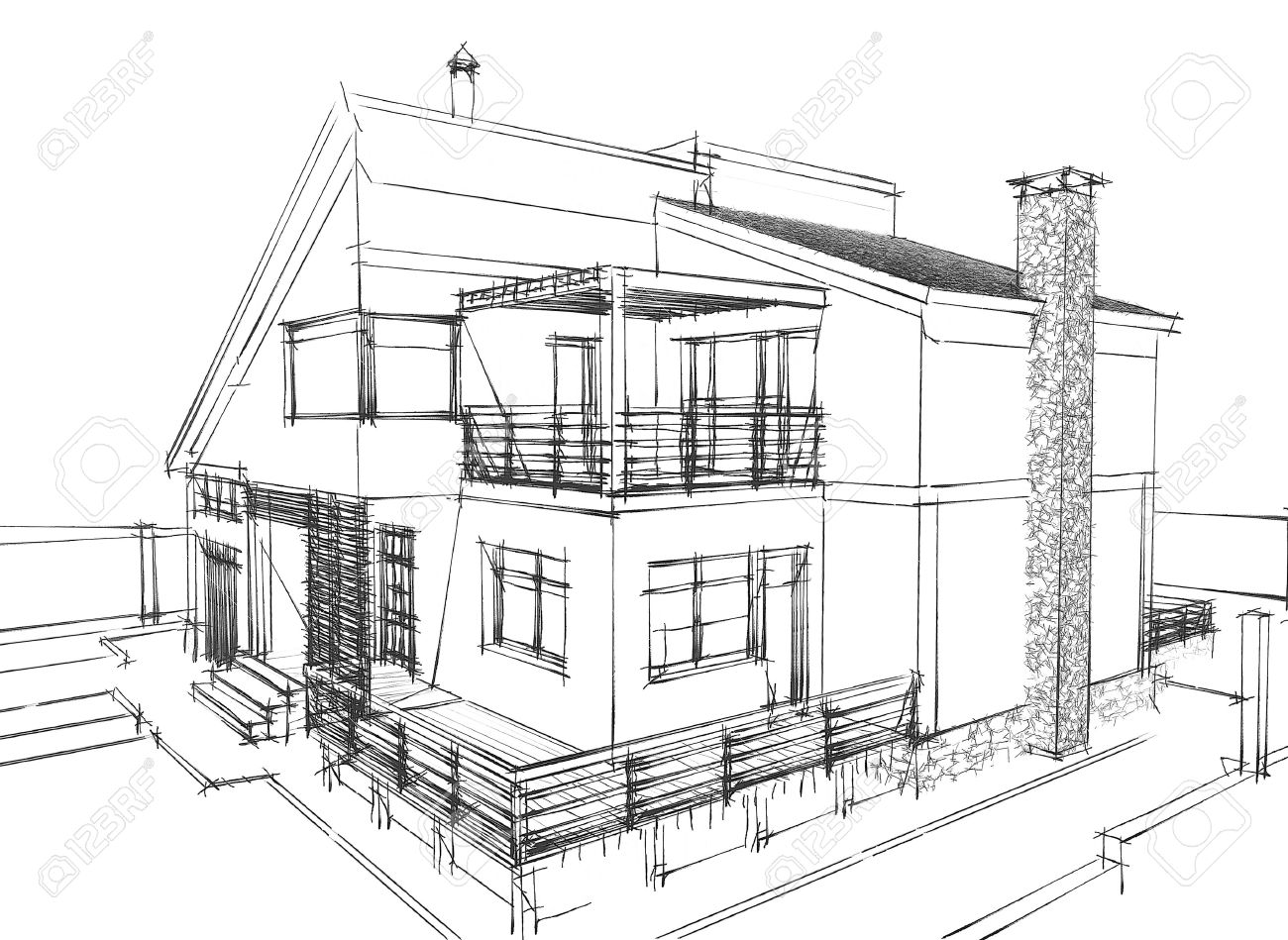 Sketch Of A Residential House On White Background Stock Photo