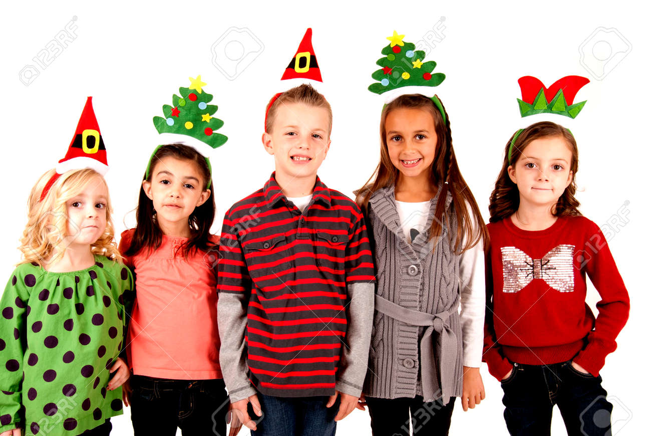 Christmas Hats For Kids.Cute Kids In Funny Holiday Christmas Hats