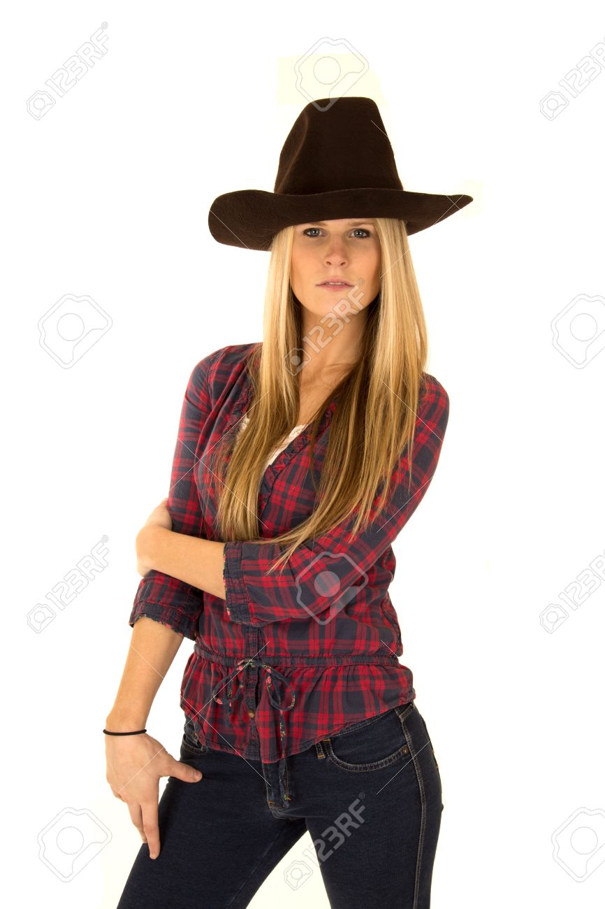 Stock Photo - Woman model in cowboy hat stoic look 290d24ae1edf