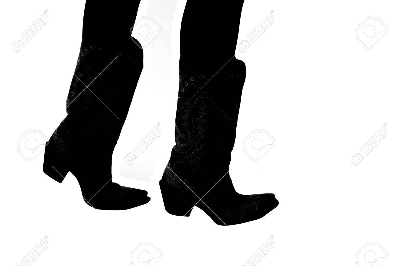 4249c2f45db silhouette of cowboy boots on white background