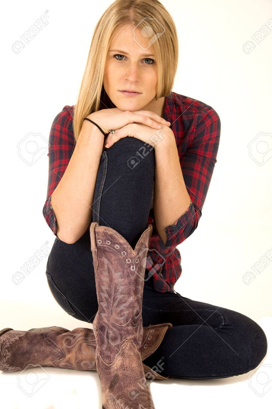 8b72abd8b3d female model wearing cowboy boots sullen expression Stock Photo - 25873333