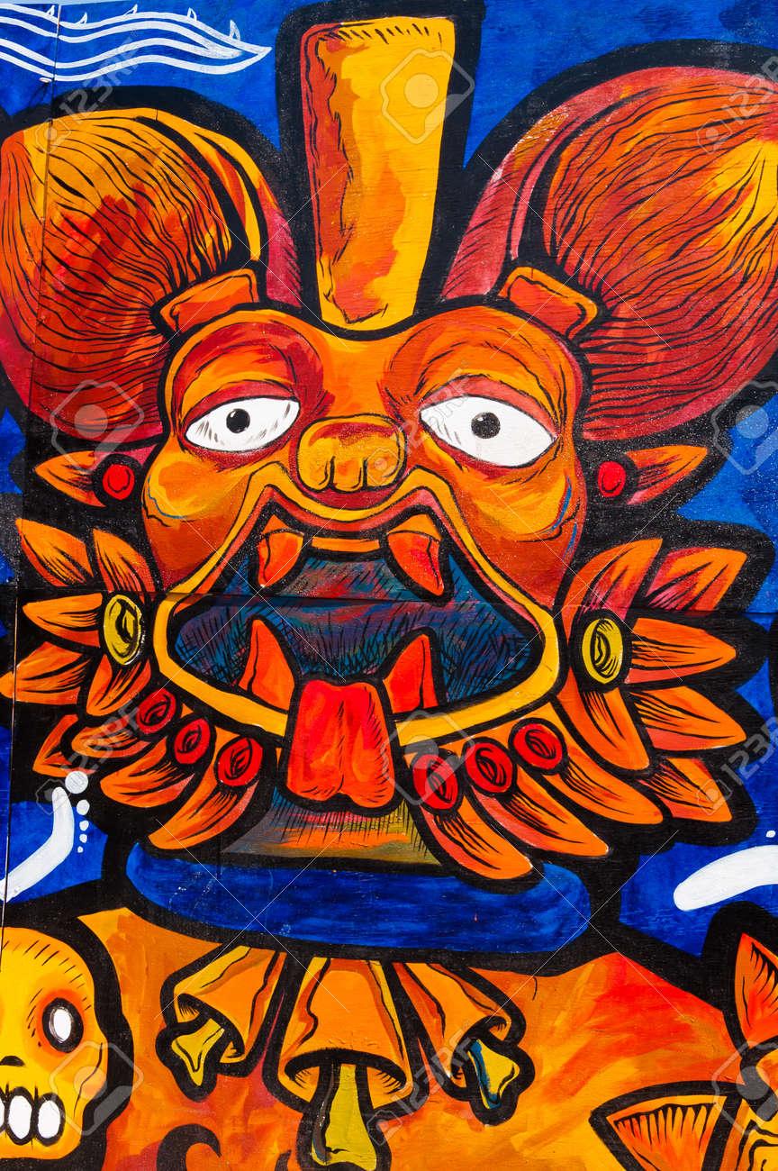 Aztec Dipinto Sul Muro Per Lanniversario De Templo Mayor 25 Nei