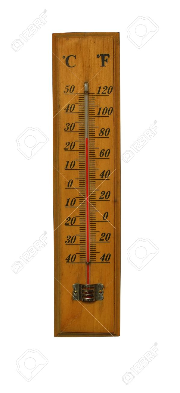 old thermometer measuring in celsius and fahrenheit stock photo