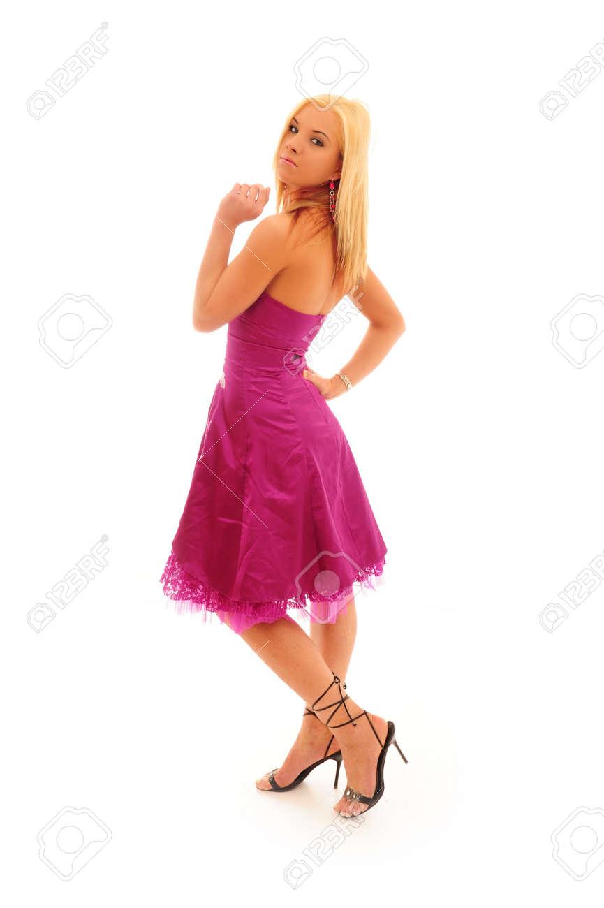 Junge Frau, Blondes Haar Trägt Ein Helles Kleid Lila Partei Auf ...