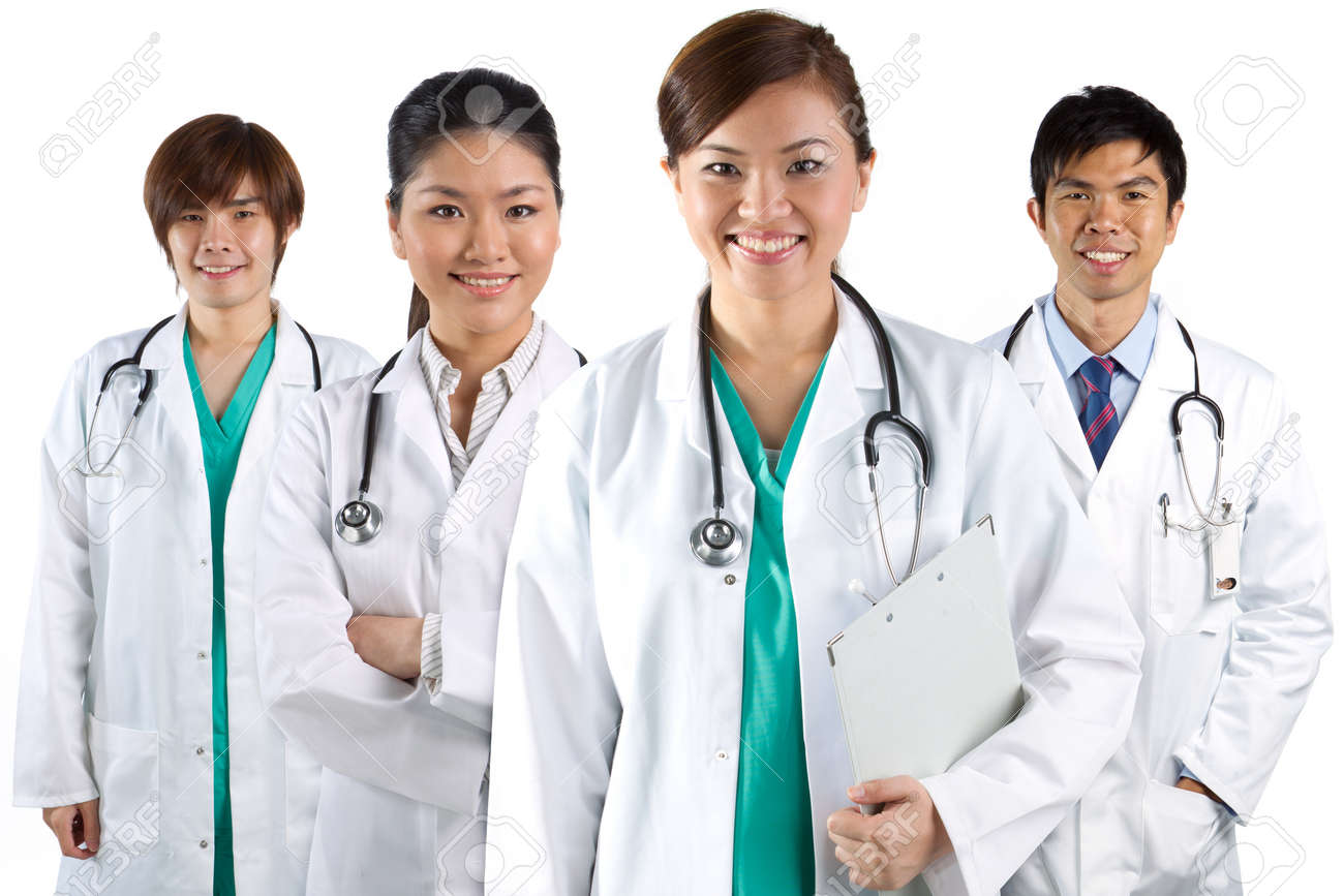 Four Asian Doctors Wearing A White Coats With Stethoscope's ...