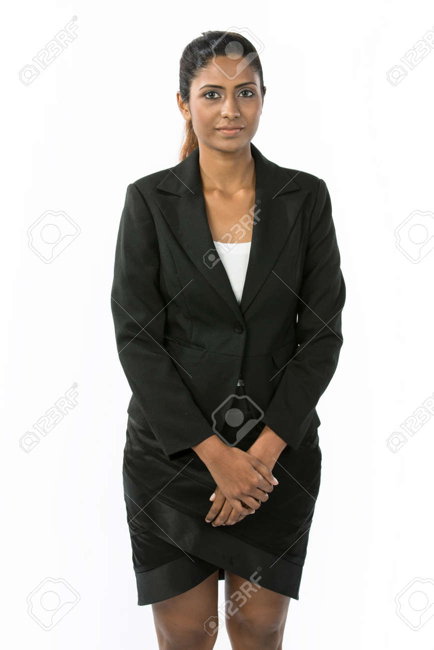Portrait of a happy Indian business woman. Isolated on a white background. Stock Photo - 14840385