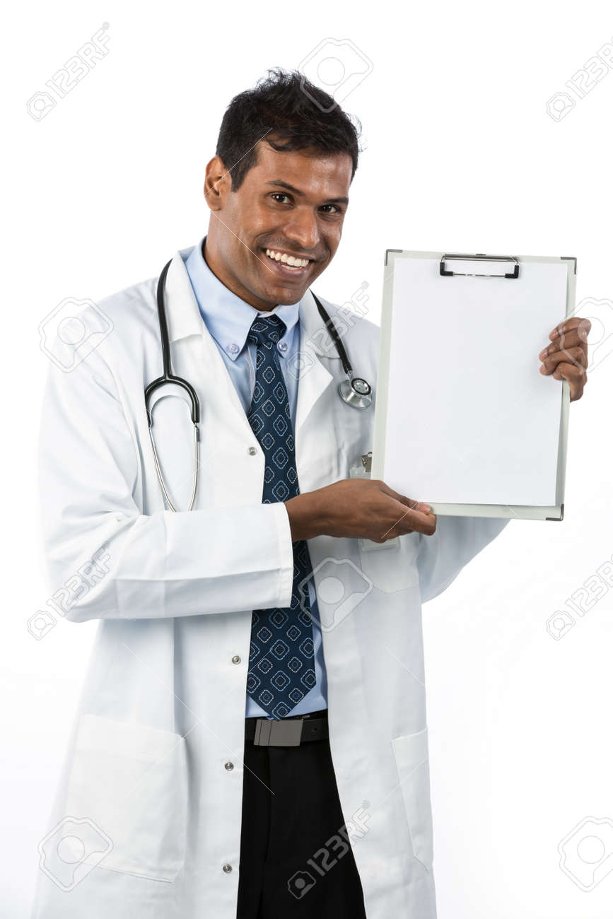 Happy Indian male doctor showing a clipboard. Isolated over a white background Stock Photo - 15162841