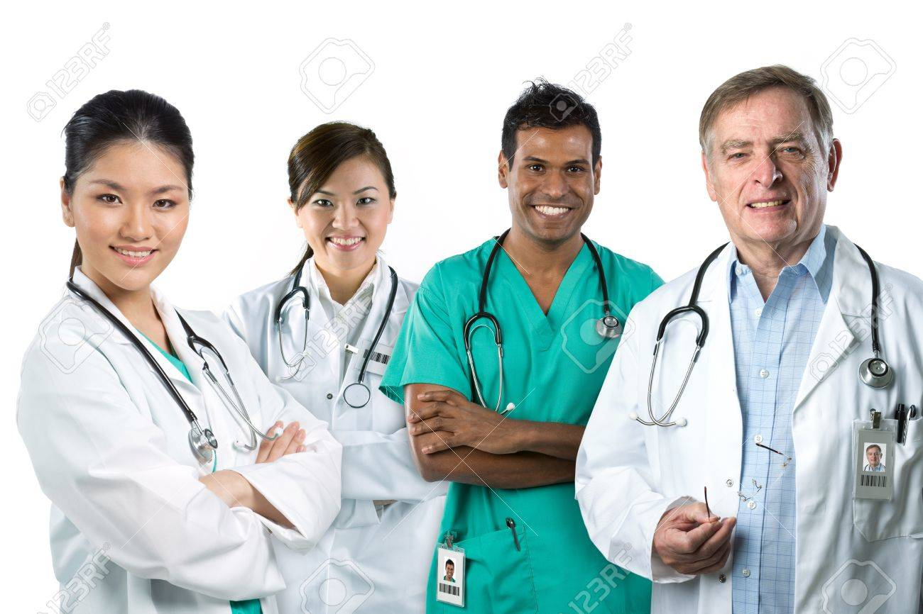 Group image of a mixed race Medical team. Isolated on white. Stock Photo - 15564921
