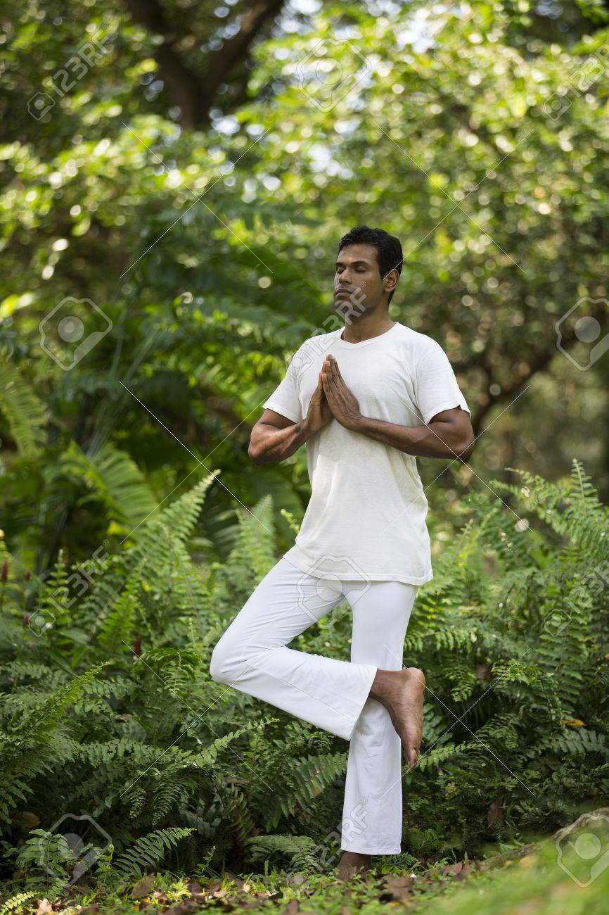 Portrait of handsome Indian man doing yoga exercise in park Stock Photo - 19590174
