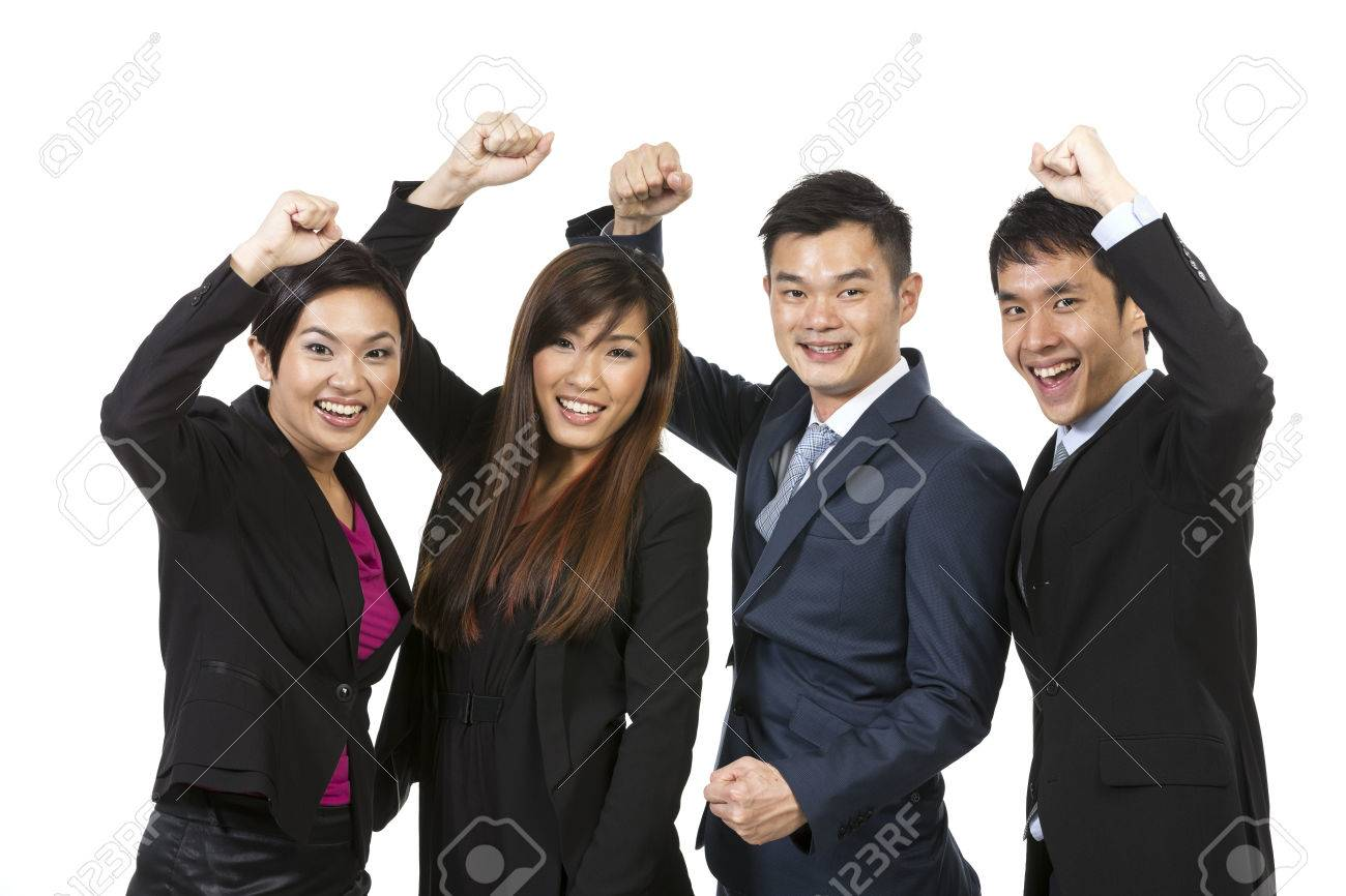 Happy Chinese business team celebrating success. Isolated on white background Stock Photo - 24120011