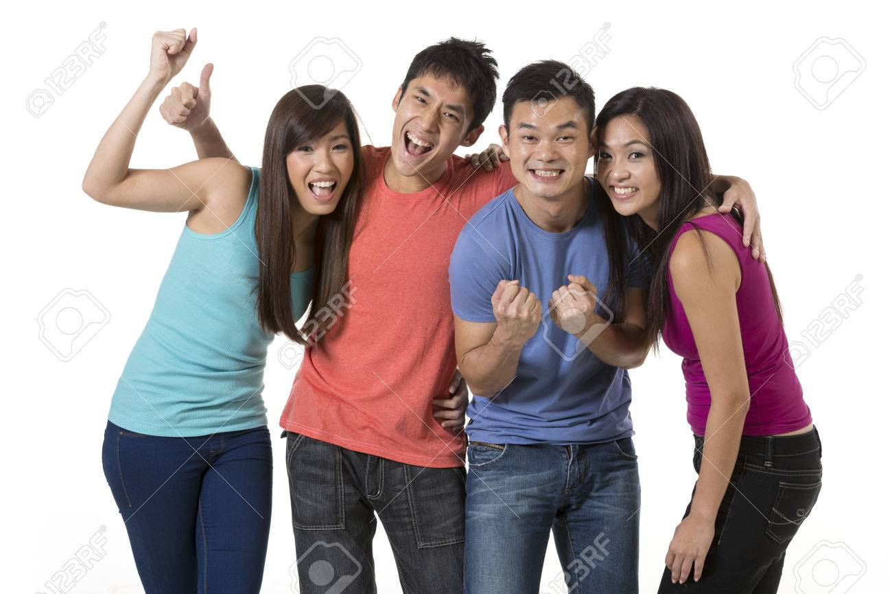 Happy group of Chinese friends celebrating good news. Isolated over white background Stock Photo - 24120542