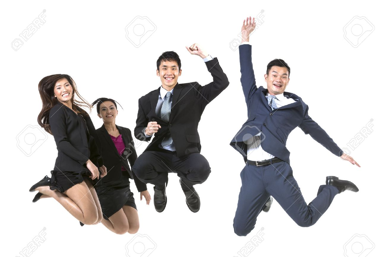 Group Of Chinese Business People jumping in the air. isolated on a White Background Stock Photo - 24120713