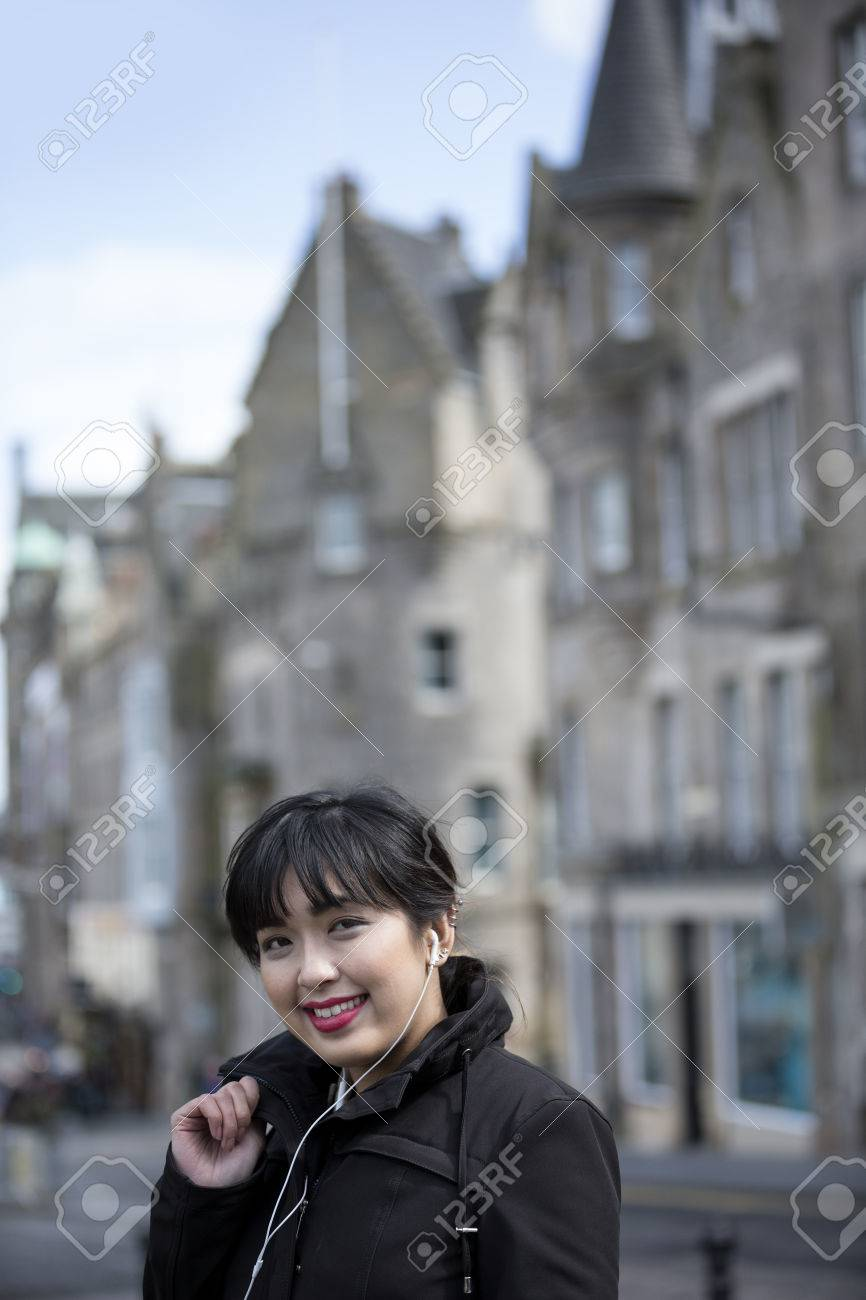 Beautiful asian woman photographing street, sexy fuck agmes