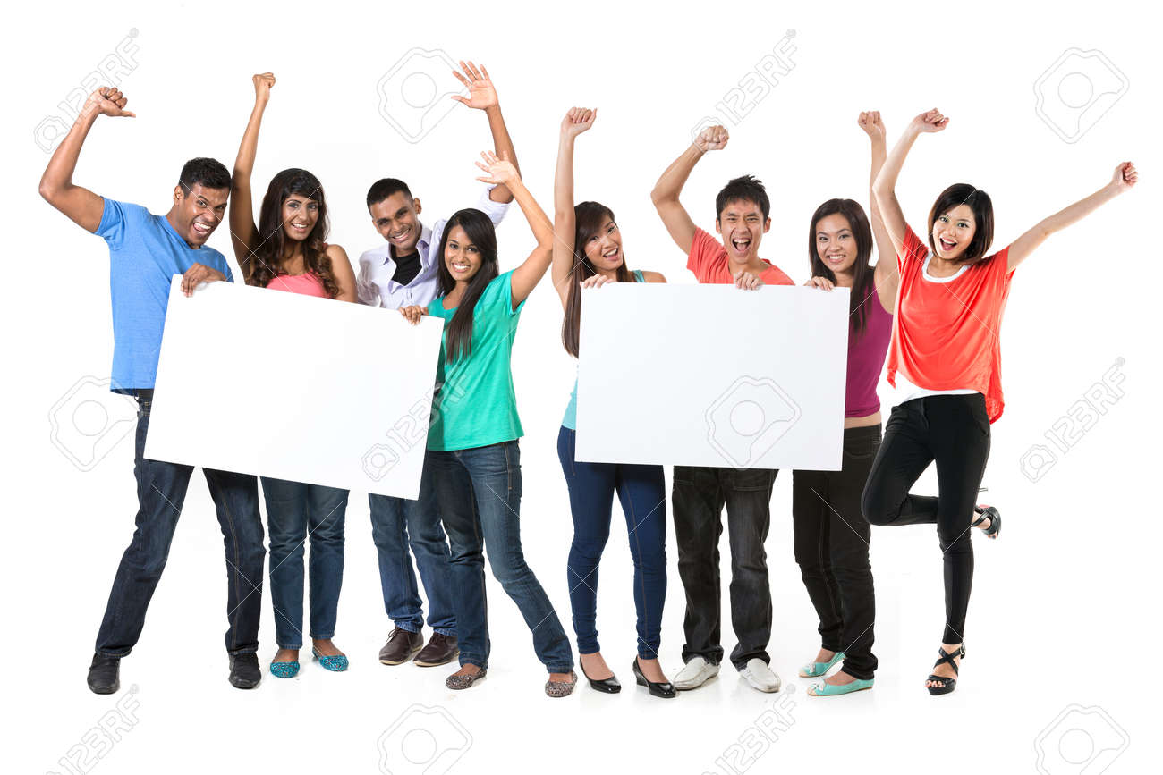 Two Group's of Asian people holding a big banner for your message. Indian and Chinese teams holding placards and celebrating good news. Isolated over white background. Stock Photo - 29578938