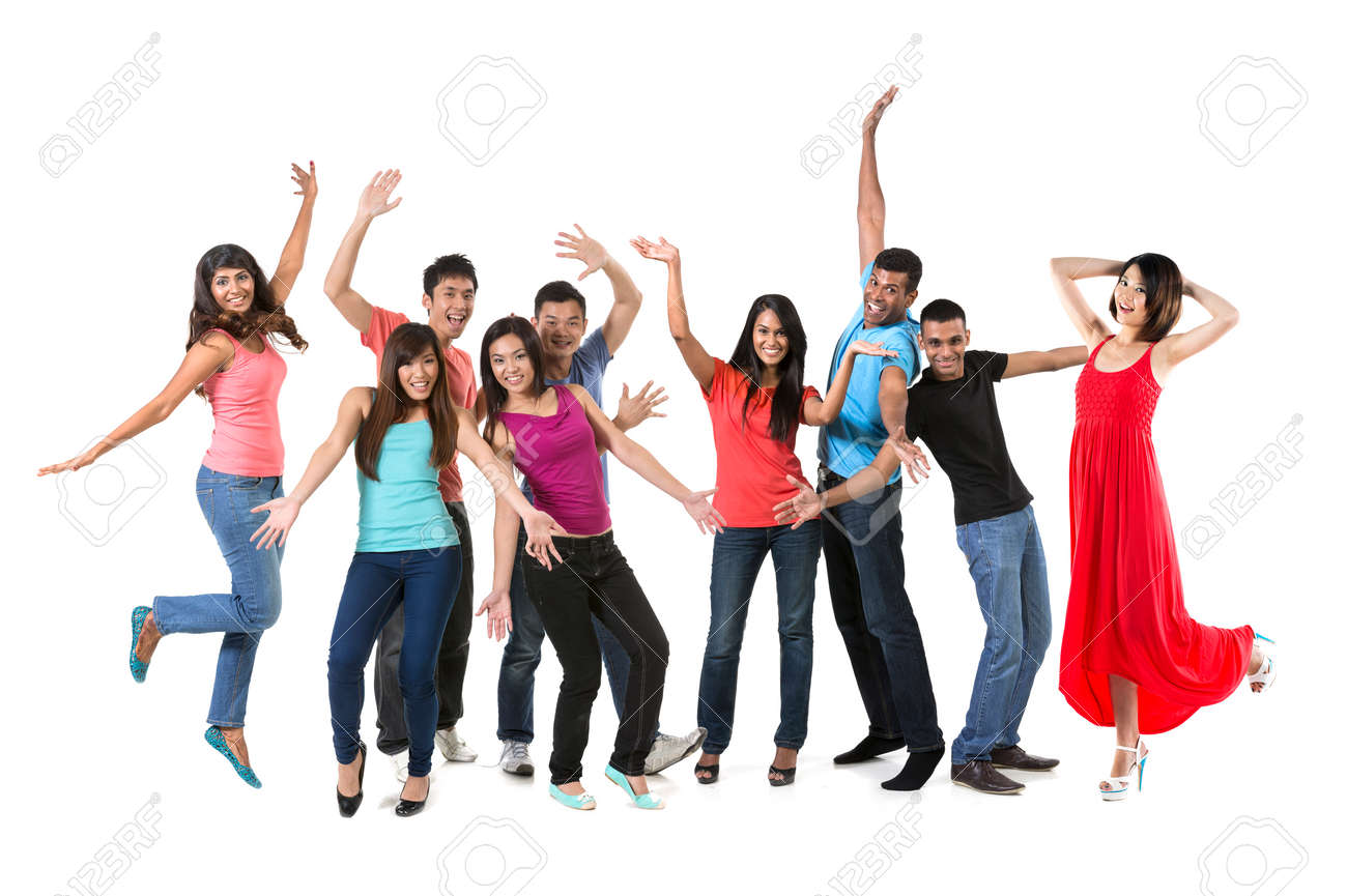 Large Happy group of Asian friends dancing. Isolated over white background Stock Photo - 29578958