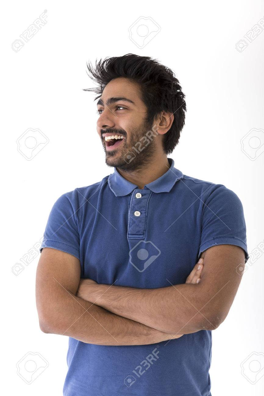 Happy Indian man looking away.. Isolated on white background Stock Photo - 37307353