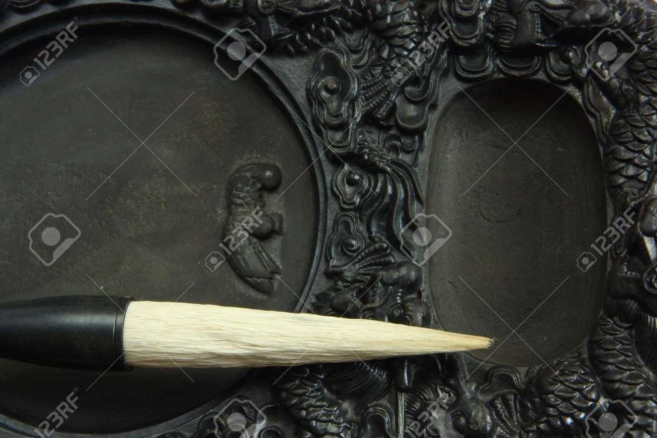 Chinese calligraphy tool��brush and inkstone Stock Photo - 4748810