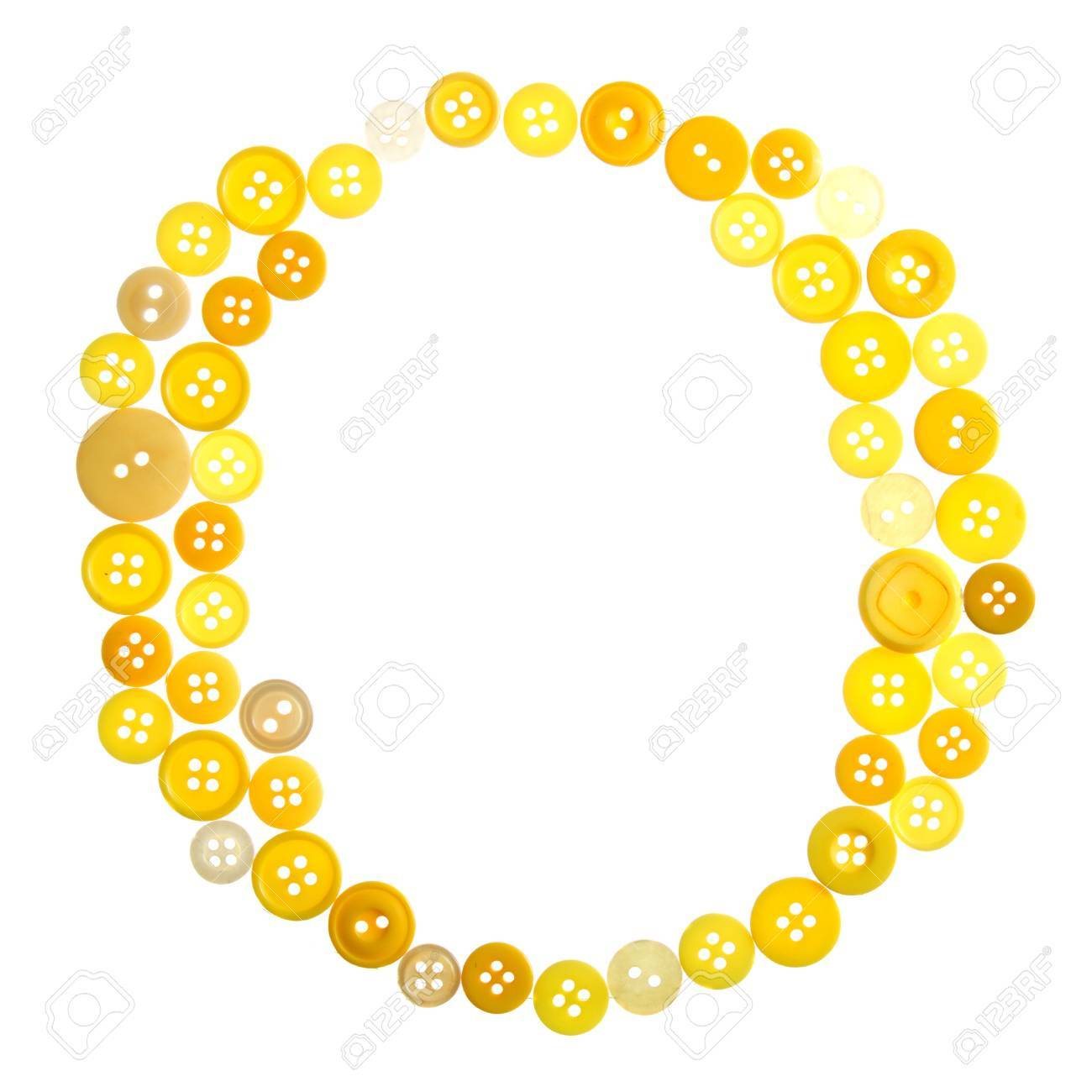 The letter O made of photographed buttons, isolated on a white background Stock Photo - 12503814