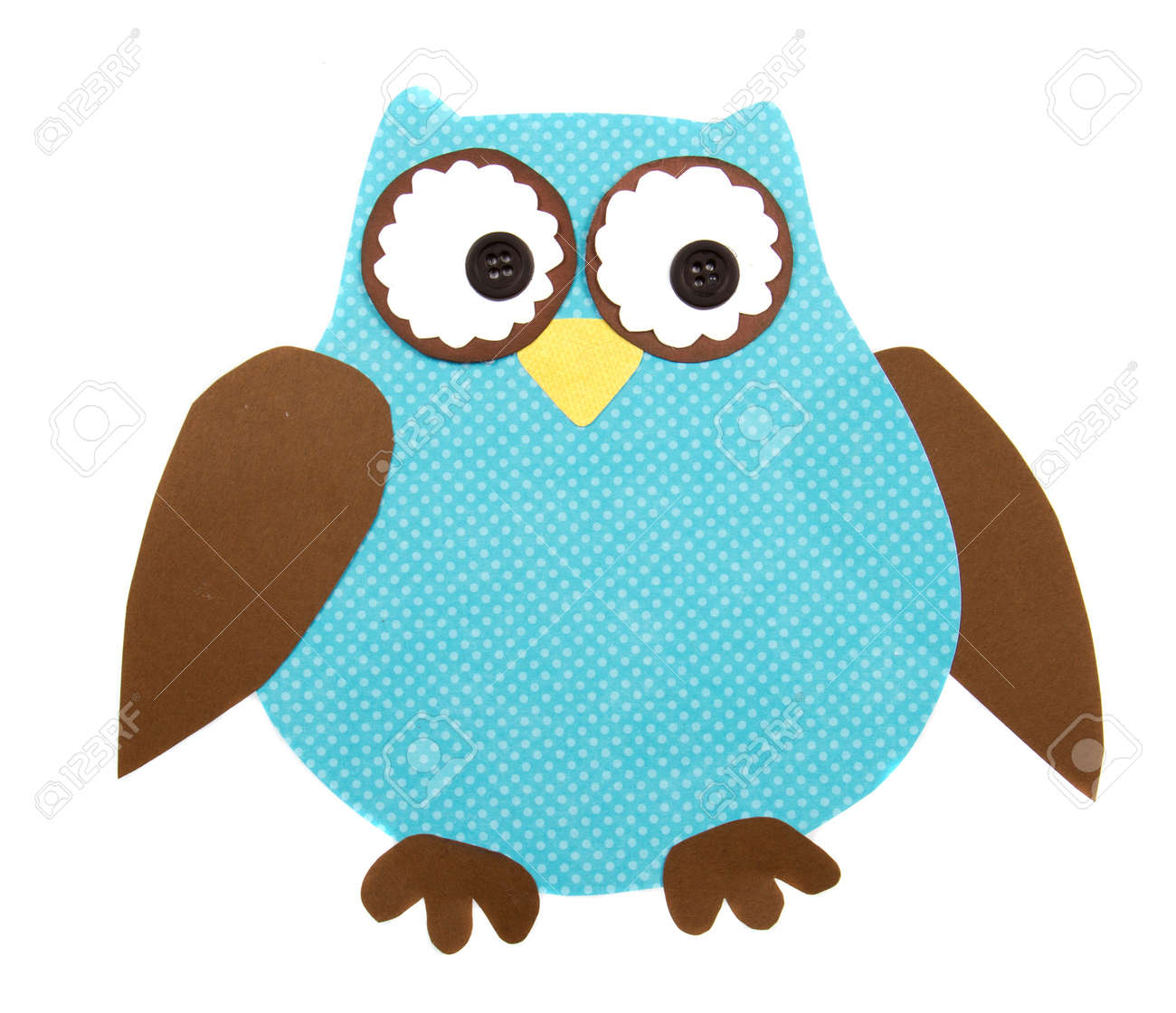 A colorful owl cut out of paper, isolated on a white background Stock Photo - 12892970