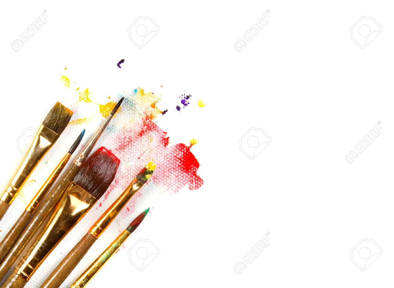 Assorted paint brushes on canvas background with paint splatter on white background Stock Photo - 13497888