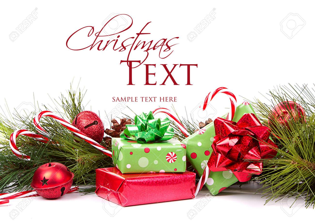 Weihnachtsgeschenke Und Tannenzweigen Mit Zuckerstangen Und ...