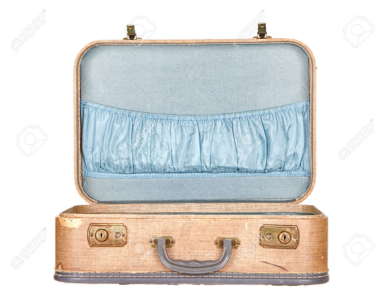 Vintage Suitcase Or Luggage Open, Isolated On White Stock Photo ...